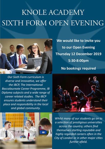 Sixth form open evening advert