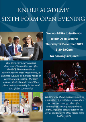 Sixth form open evening advert