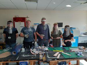 Teachers making masks