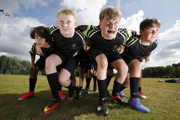 Rugby menacing team shot