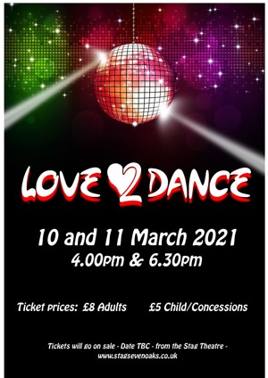 Poster for love 2 dance show on 10 and 11 march 2021