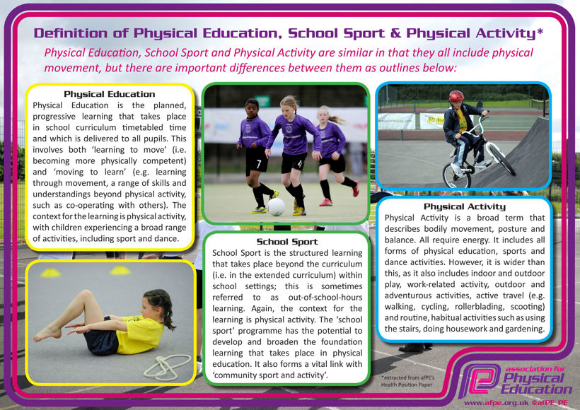 Definitions of physical education school sport and physical activity