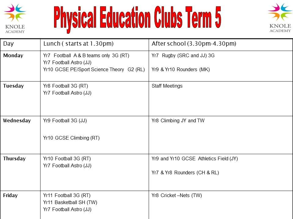 Pe clubs timetable term 5 2021