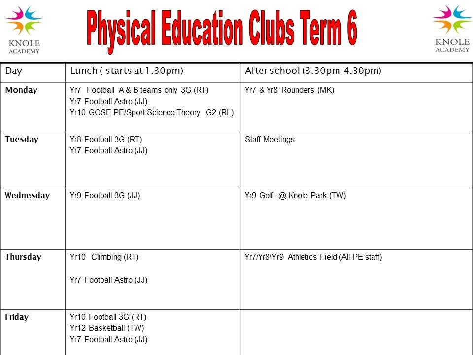 Clubs timetable term 6 2021