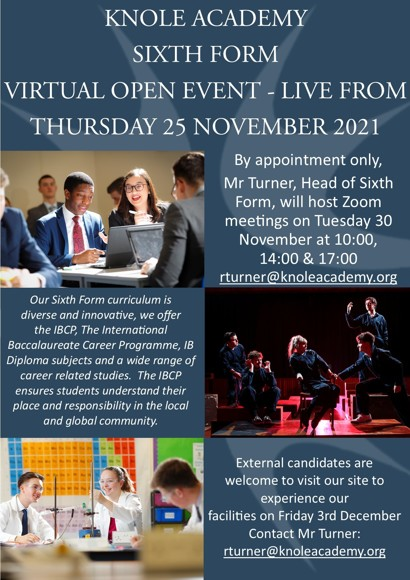 Sixth form open event advert 2021 final approved vsn 27721