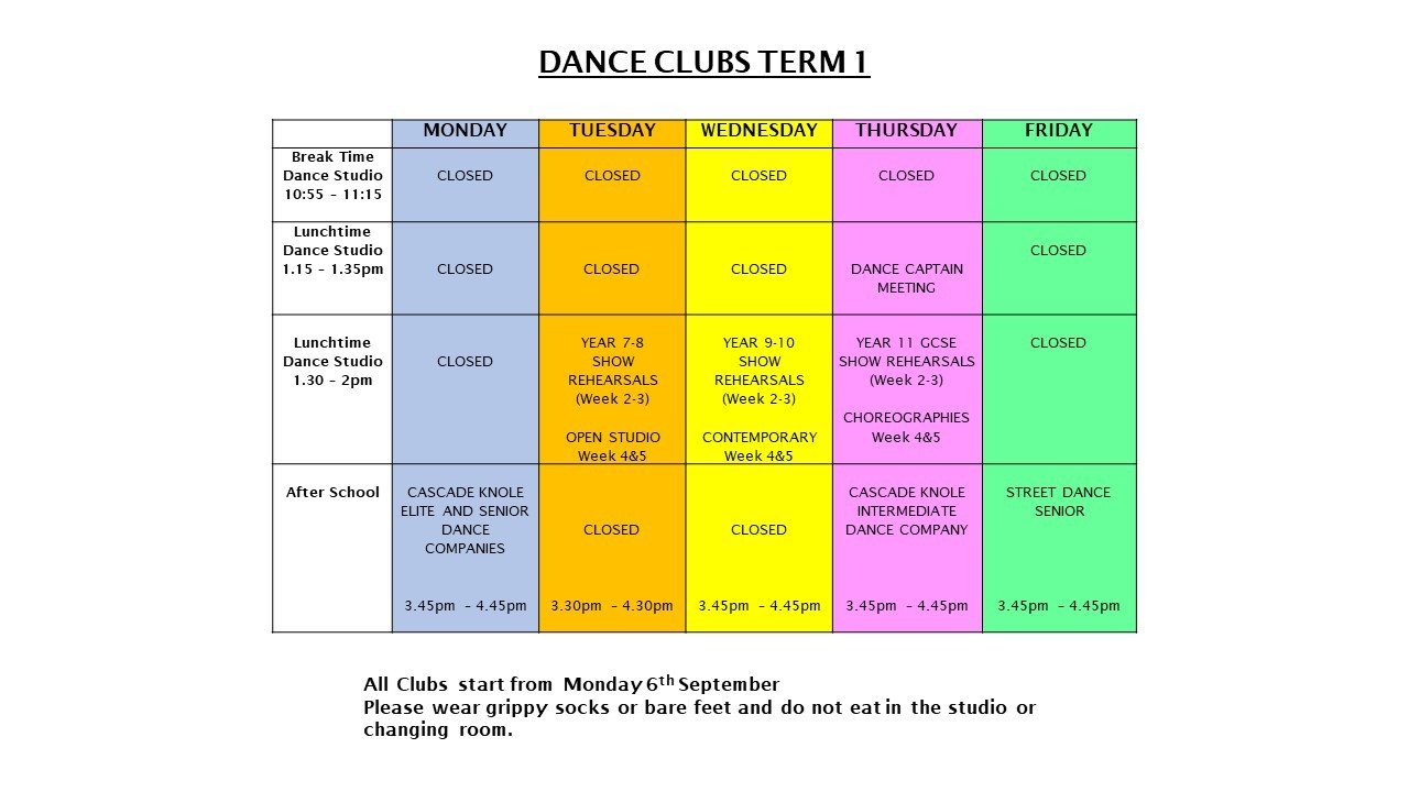 Dance clubs term 1 2021