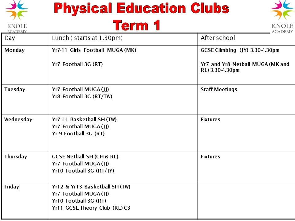 Extra curricular clubs pe term 1 2021